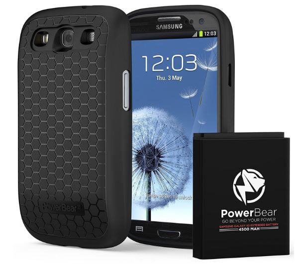PowerBear S3 4500mAh Extended Battery Case Samsung Galaxy Black