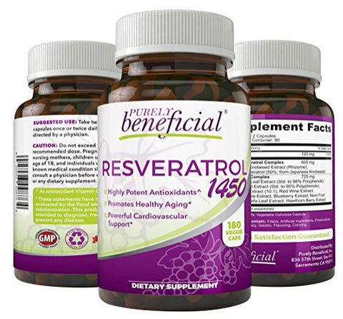 PURELY Beneficial Resveratrol 1450 Anti-Aging Cardiovascular Support 1450 mg 180 Caps