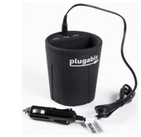 Plugable 3-Port 36W USB Charger Car Power Cup Holders