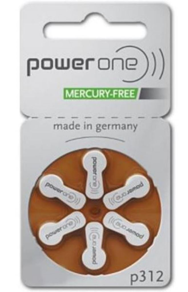 PowerOne Hearing Aid Mercury-Free Battery Size 312 x 60 Batteries
