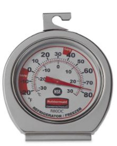 Rubbermaid FGR80DC Stainless Steel Refrigerator Freezer Thermometer