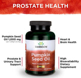 Swanson Pumpkin Seed Oil Omega 3 and 6 Prostate Support 1,000 mg 100 Caps