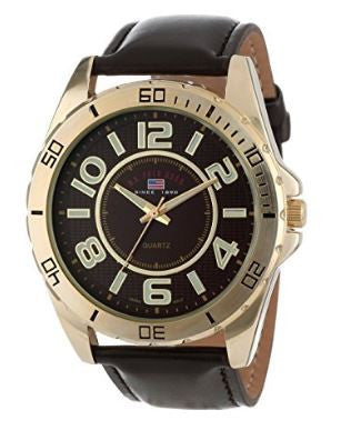 US Polo Assn US5160 Men Analog Digital Watch Brown Synthetic Leather