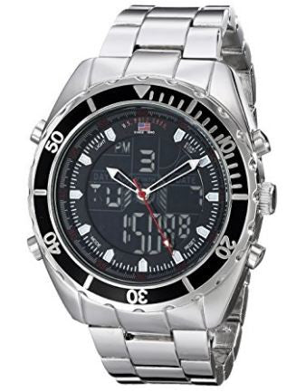 US Polo Assn US8211 Men Analog Digital Watch Sterling Silver