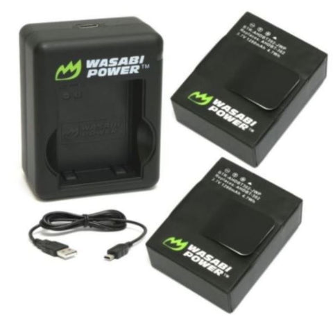 WASABI 2-PC 1280mAh GoPro Battery with Charger for HERO3 3+