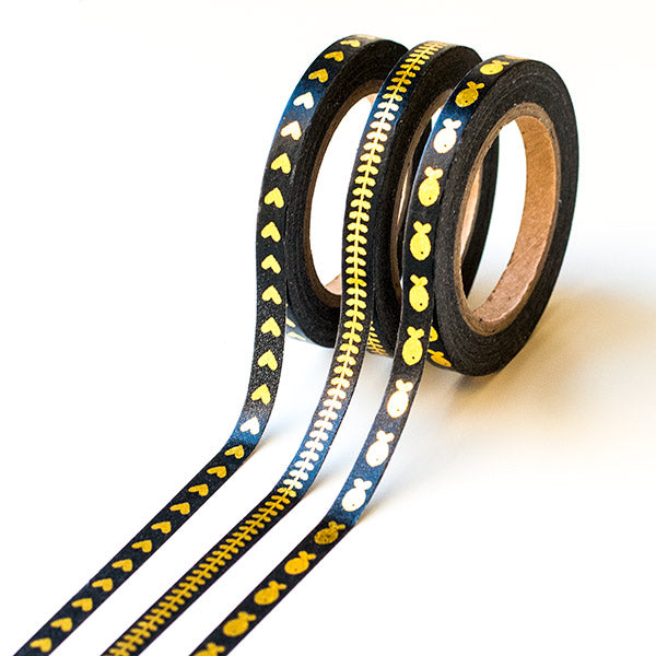 Slim Black Washi Tapes With Foil Designs