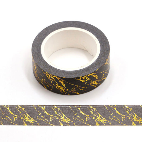 Black Washi Tape With Gold Foil Pattern