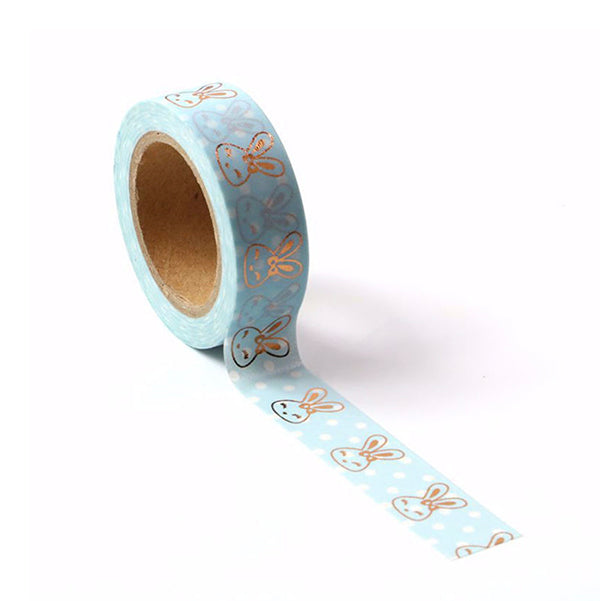 Light Blue Washi Tape With Gold Foil Bunny