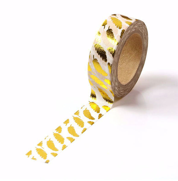 Gold Foil Feather Washi Tape