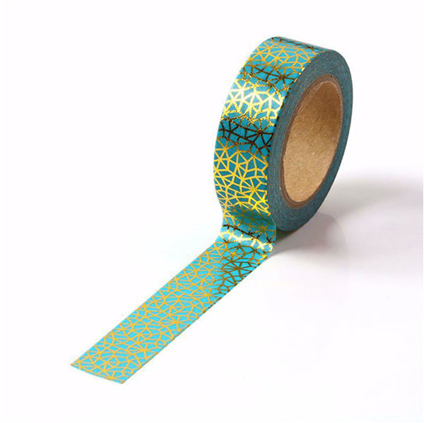 Electric Blue With Gold Foil Pattern Washi Tape