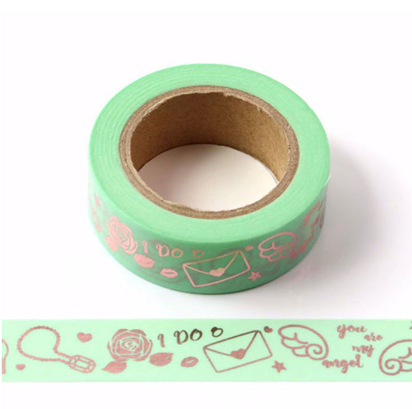 Green Washi Tape With Rose Gold Foil Decoration