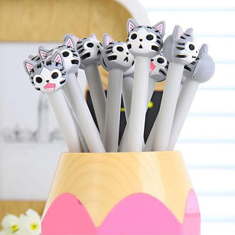 Cute Grey Kitty Face Pens
