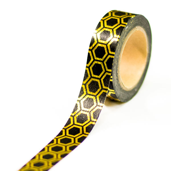 Washi Tape - Gold & Black Geometric Design