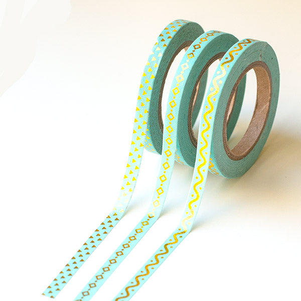 Washi Tapes - Slim Mint With Foil