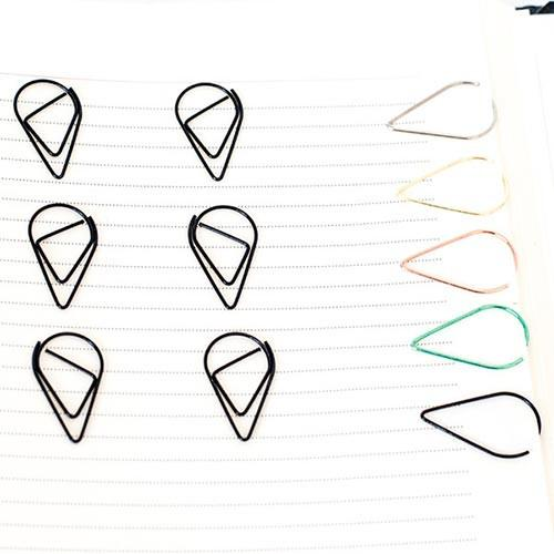 10 Black Teardrop Paperclips
