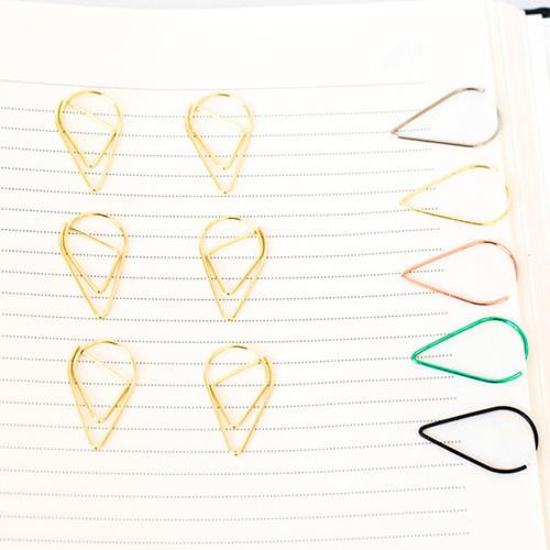 10 Gold Teardrop Paper Clips