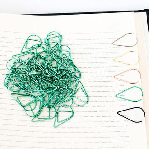 10 Green Teardrop Paper Clips
