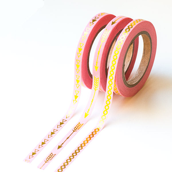 Washi Tapes - Slim Pink With Foil