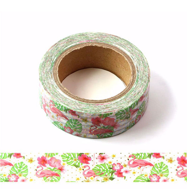 Red Flamingo Around Green Leaves Washi Tape