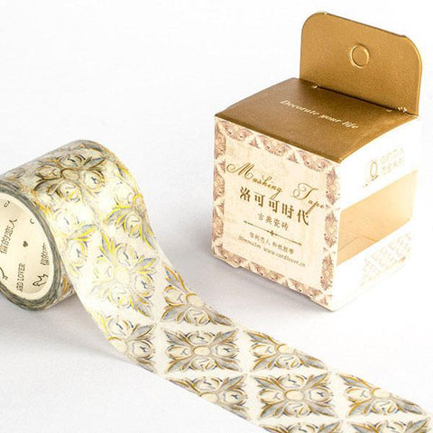 Rococo Pattern Gold Foil Masking Tape