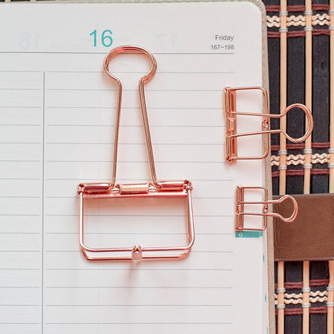 Rose Gold Skeleton Binder Clips