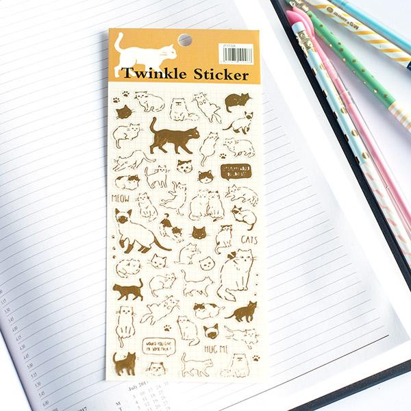 Cat Gold Foil Stickers
