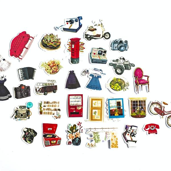 Vintage Sticker With Home And Street Items