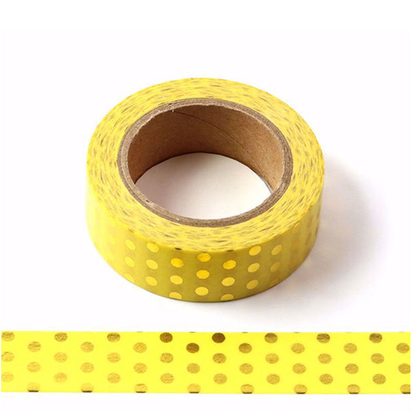 Yellow With Gold Foil Polka Washi Tape