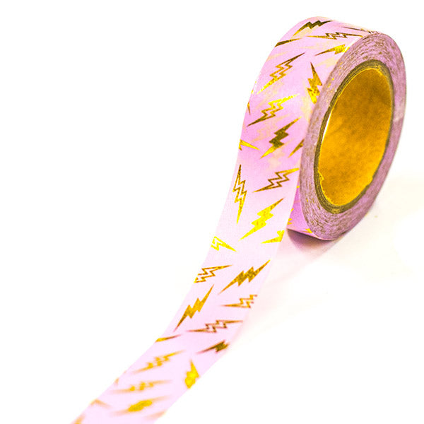 Washi Tape - Pink Lightning Foiled