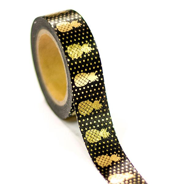 Washi Tape - Black With Gold Foil Pineapple