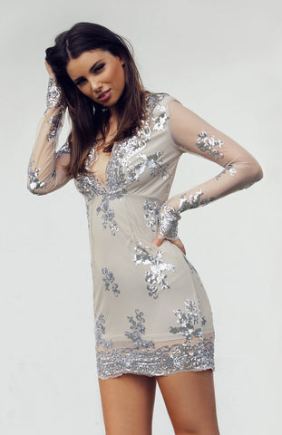 Long Sleeved plunge sequinned silver mini dress with scalloped hem