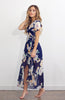 Blue Maxi Floral Printed Wrap Dress with Short Sleeves and High Low Hem