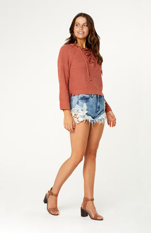 Chunky Aspen Lace Up Knit Jumper in Burnt Orange with Long sleeves and V neckline