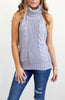 Grey Knit Halter Backless Tank Top with No Sleeves