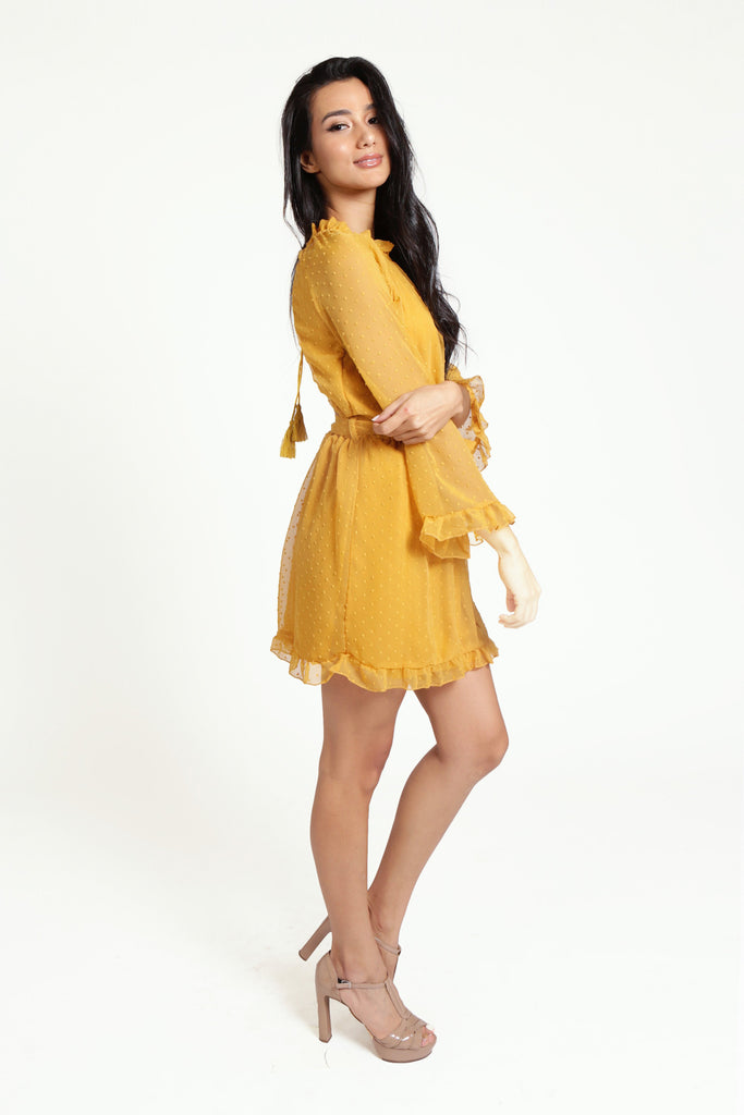 Yellow Chiffon Long Sleeved Backless Polka dot Dress with High Neckline, Ruffled Sleeves and A-Line Skirt