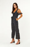 Our Palazzo Polka Dot Jumpsuit features chic ruffles along the neckline, straps and cold-shoulder details. Full length romper is form fitting, small side slits along the hemline, a self-tie belt. Polka dot fabric is non-stretch, invisible back zip.