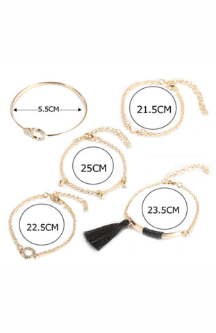 Black and Gold 5 Chain Tassel, Charm and Crystal Bracelet Set