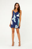 Navy Tropical Palm Print Slip A-Line Dress with V neck and Spaghetti Straps
