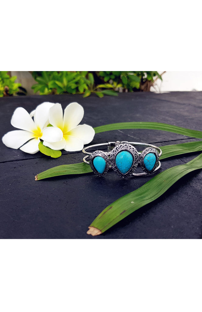 Boho Turquoise Metal Bracelet with 3 Stones and Ancient Silver Detailing