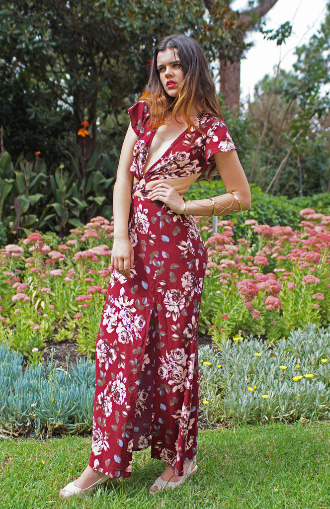 Deep V Printed Floral Red Maxi with cut outs and capped sleeves