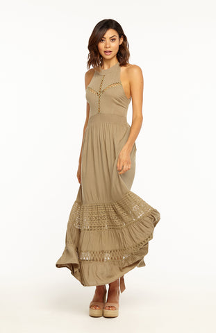 Green Khaki Halter Backless Maxi Dress with Lace Cut Out, a Shirred Empire Waistline and a Tie-up Back Bow