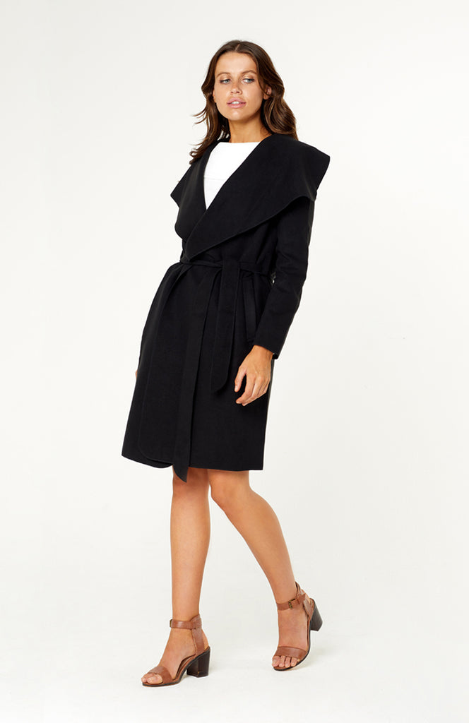 Chasing Waterfalls Soft Black Winter Jacket with Turn Down Drape Collar and Belted Sash