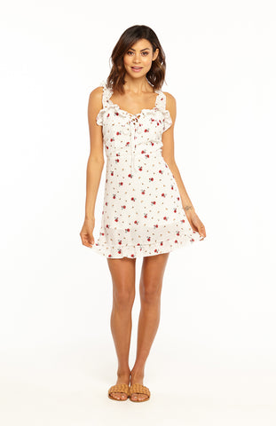 Bodycon Floral Printed Mini Dress with Ruffled Straps, Lace-up Neckline, Ruffled Hem and Rouched Back