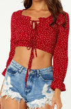 Red Long sleeved Polka Dot Print Crop Top, with Soft Ruffles at Wrist, Square Neckline, and Two Bow Ties at Front