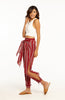 Red Printed Boho Pants with Front Ties, Ankle Ties and Side Slit