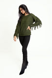 Khaki green fringe knit long sleeve jumper