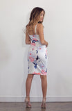 Floral Printed Body Hugging Midi Dress with Cut Out