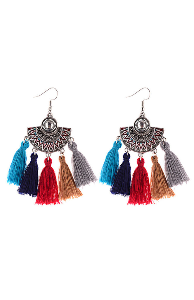 Boho Silver semicircle earrings with blue, red, and yellow tassels