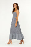 Gingham Maxi Boho Dress with Shirred Bodice, Adjustable Bow Tie Straps, Ruffled Full Skirt Hemline and A Cheeky Cut Out Back