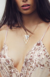 2 Layered Gold Geometric Triangle Marble Necklace